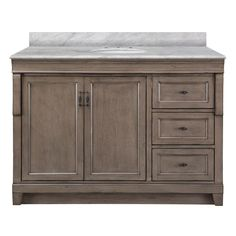 Home Decorators Collection Naples 49 In W X 22 D Vanity With Right Drawers Warm Cinnamon Granite Top Black White Basin