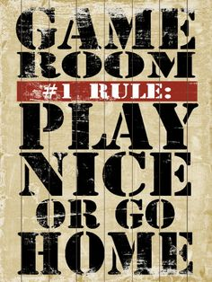 Game Room Rules 8 X 18 Typography Word Art Print 12 00
