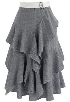 Passion Tiered Ruffle Hem Skirt in Navy Gingham - New Arrivals - Retro, Indie and Unique Fashion Skirt Pants, Dress Skirt, Ruffle Skirt, Ruffles, Midi Skirt, Gingham Skirt, Unique Fashion, Womens Fashion, Fashion Design