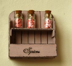 Dollhouse miniature shelf shabby rack 3 candy by DewdropMinis Wall Shelves, Shelf, Distressed Walls, Spice Labels, Glass Candy, Garden Accessories, Shabby Chic Style, Dollhouse Furniture, Glass Jars