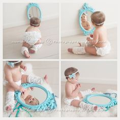 First birthday pictures with mirror! Adorable