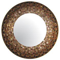 Large Round Mosaic Mirror Brown Mahogany Gold by opusmosaics