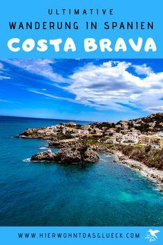 """Wandern an der Costa Brava. Erkunde die nordöstliche Küste Spaniens zu Fuß! Der Weitwanderweg an der spanischen Costa Brava wird als GR 92 bezeichnet. Der 220 km lange Weg startet im kleinen Örtchen Portbou, welches an der spanisch-französischen Grenze liegt, und verläuft bis zur bekannten Partystadt Lloret de Mar. Die Costa Brava (span. """"Wilde Küste"""") zeigt sich dabei von ihrer besten Seite. Wir finden der schönste Weitwanderweg Europas! #hike #spanien #costabrava Costa, Water, Outdoor, Small Places, Europe Travel Tips, Water Water, Outdoors, Aqua, Outdoor Games"""