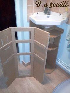Upcycled Cardboard around a Siphon as Bathroom Furniture Recycled Cardboard Diy Cardboard Furniture, Furniture Ads, Cardboard Crafts, Recycled Furniture, Bathroom Furniture, Rustic Furniture, Cardboard Playhouse, Outdoor Furniture, Timeless Bathroom