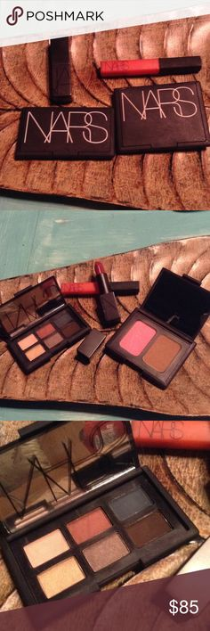 NARS COSMETICS SET! NEW/REMOVING SOON YOU GET NARS DUO LAGUNA AND ANGELIKA  BLUSH AND BRONZER SET FULL SIZE NARS EYESHADOW PALETTE WITH SIX GORGEOUS COLORS FULL SIZE A FULL SIZE BEAUTIFUL ON EVERYONE AND SO FLATTERING DEEP BURGUNDY RED IN AUDREY AND FINALLY A FULL SIZE NARS ICONIC LIPGLOSS IN WONDER!!! ALL NEW AND AUTHENTIC. LIPGLOSS ONLY HAS BEEN SWATCHED NOTHING ELSE !! THE LIPSTICK IN AUDREY IS THE PERFECT RED LIP FOR THE HOLIDAYS!!!!!!!!! ALL AUTHENTIC!!!!!!!!!!!! NARS Makeup