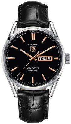 Amazon.com: Tag Heuer Carrera Automático Negro Dial Negro piel Mens Reloj WAR201CFC6266: TAG Heuer: Watches