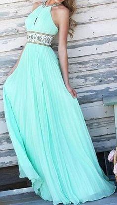 Elegant Halter Print Spliced Backless Hollow Out Sage Maxi Dress
