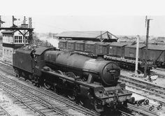 """46503 """"Solomon Islands"""" : Ex-LMS 4-6-0 5XP Jubilee class No 45603 'Solomon Islands' passes Coventry No 3 signal cabin light engine. Built as LMS No 5603 by the North British Locomotive Company in May 1935 it remained in service until December 1962 when it was withdrawn from Nuneaton shed to be scrapped during February 1963 at Crewe works."""