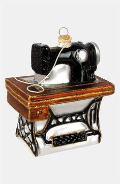 Sewing Machine Glass Christmas Tree Ornament // Santa, please bring me this
