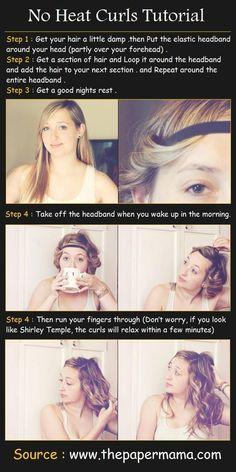 No Heat Curls Hair Tutorial--this works REALLY well. I have shorter layers on top so I had to twist it around the opposite way and pull it u...