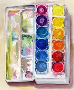 WATERCOLOR by JRB Ice Cube Trays, Paintings, Watercolor, Brown, Watercolour, Paint, Watercolor Painting, Painting Art, Painting