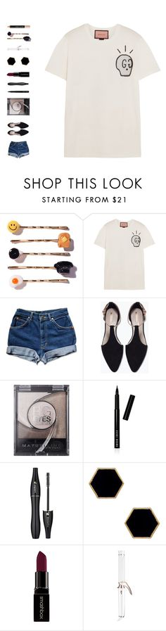 """""""lifeline"""" by ouchm4rvel ❤ liked on Polyvore featuring Venessa Arizaga, Gucci, Zara, Maybelline, Bobbi Brown Cosmetics, Lancôme, Janna Conner Designs, Smashbox and T3"""