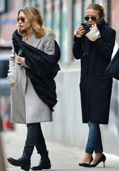 Olsens Anonymous Blog Fall Winter Style Fashion Pair Jeans And Coats Mary Kate And Ashley Olsen Twins Leather Booties Pumps