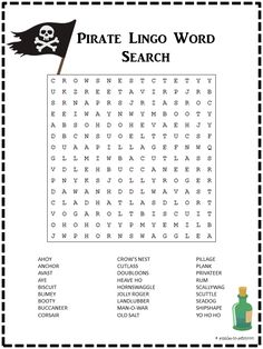 Ahoy matey, shiver me timbers, this is one fun pirate word search and that's no hornswaggle.  Learn the lingo and have a good time on Puzzles to Print.