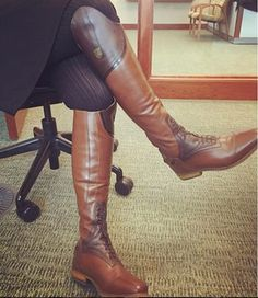 """""""When you're breaking in new tall boots at the office """" - Emily D. Okay...lets hear it. Anyone else done this before? #TheyllNeverKnow #EventerProblems. Mountain Horse USA Sovereign Field Boots are available in black or brown #mountainhorse"""