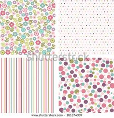 set of seamless colorful patterns. Ideal for printing onto fabric and paper or scrap booking.