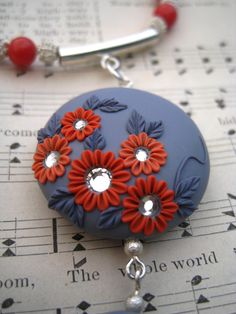 Polymer Clay Necklace   Flowers  Crystals  by MoobieGraceDesigns, $28.00