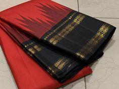 Thamboori handwoven pure kanchipuram silk- arakku with or – Thamboori Silks Kanjivaram Sarees Silk, Bandhani Saree, Kanchipuram Saree, Bridal Silk Saree, Saree Wedding, Bengal Cotton Sarees, Indian Wedding Wear, Indian Wear, Elegant Fashion Wear