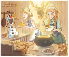 Olaf: come on Elsa Feed Me!  Elsa: of course my little snowman here's your food.