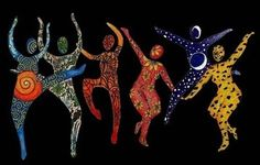 I dont' know who created this artwork. If anyone does please share with me/us. Colorful figures dancing joyfully! Happy and Free feeling!