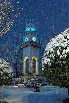 """clock & snow"".. Ioannina, Epirus, Greece ( by Bill L. Kostas-Mpeze)"