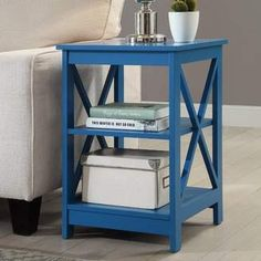 Beachcrest Home Stoneford End Table. Colorful blue end tables to add pops of color to an otherwise neutral space, or add it to a room featuring mostly blue décor. #endtables #nightstand #homedecorideas #bluedecor
