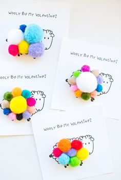 "Wooly Be My Valentine Free Printable - print out these adorable sheep cards and let kids add pom pom's on top for the ""sheep's wool."""