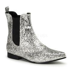 Men's Silver Glitter Slip On Retro Boots