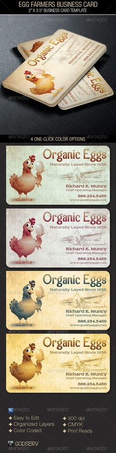 Egg Farmers Business Card Template is for a agricultural company. that needs a retro style. The template can also be used for othe