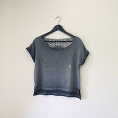 "Gray Crochet Back Tee A casual short sleeve top in a relaxed cut with a crochet appliqué.  •Size M; 20"" length   •60% cotton 40% polyester  •New without tag  •NO TRADES/HOLDS Aeropostale Tops Tees - Short Sleeve"