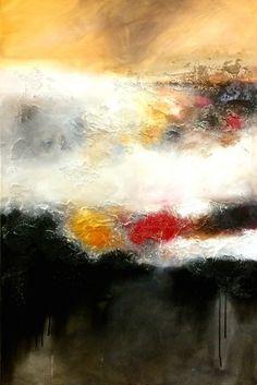 """Quand s'installe le silence... (Painting),  80x120x120 cm par Corinne Dubosque Paysage abstrait , """"Quand s'installe le silence .."""" Huile sur toile"""