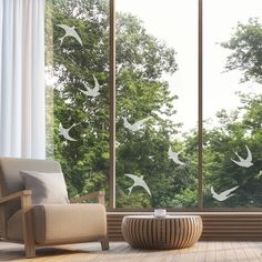 Frosted Bird Window Stickers - Flying Birds Privacy Glass Stickers Window Stickers Privacy, Window Decals, Net Curtains, Curtains With Blinds, Stick On Mirror, Paint Types, Flying Birds, Smooth Walls, Privacy Glass
