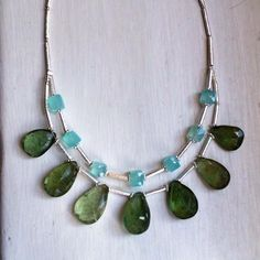 Aquamarine Calcedony and Sterling silver necklace £139.00