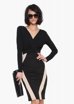 Sexy Midi Dress with Beige Line Detailing - pair with clutch and black pumps.