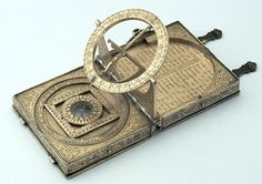 Who needs a mobile phone when you can have an astronomical compendium? Signed by Humfrey Cole and made in 1568 for the Elizabethan printer and publisher Richard Jugge, this compendium includes a quadrant, room for drawing instruments, a compass, a universal equinoctial sundial, a table of latitudes of towns and an incomplete calendar.