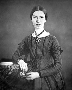 Emily Dickinson -- From the daguerreotype taken at Mount Holyoke, December 1846 or early 1847. This is the only authenticated portrait of her after childhood.