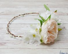 Peony Flower Crown, Cream and Pink Flower Crown, Silk Flower Crown, Boho Flower Crown, Beach Wedding, Wedding Hair Accessories, Floral Crown