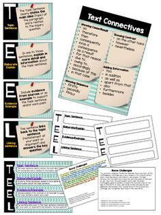 This file provides posters to display as anchor charts for Students to refer to when writing PARAGRAPHS using The T.L structure (Topic Sentence, Explain/Elaborate, Evidence/Example and Linking Sentence) and accompanying activities. Education And Literacy, Primary Education, Elementary Schools, Education Quotes, Texas Education, Education Week, Leadership Quotes, Childhood Education, Physical Education