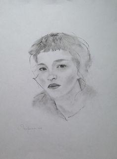 Портрет по фотокарточке, уголь и карандаш на бумаге, 2018, Грушевая Ю.