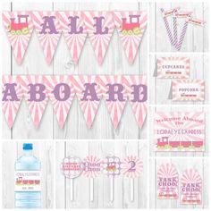 DIY by HauteChocolateFavors Pink Train Birthday Party Package. Girl Train Birthday, Trains Birthday Party, 2nd Birthday Parties, Diy Birthday, Birthday Ideas, Thomas Birthday, Birthday Recipes, Birthday Cakes, Train Party Decorations