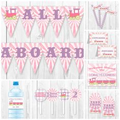 Pink and Purple Girl Train Birthday Party Package. DIY by HauteChocolateFavors, $25.00