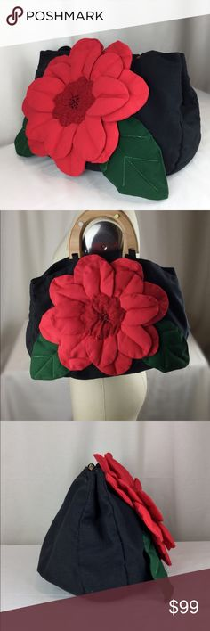"""Hand Made OOAK 3D Red Big Flower Tote Bag ✅one of a kind OOAK item  ✅ made with thick heavy strong canvas fabric  ✅big 3D  red flower in the middle   ✅ hard natural wood handle  ✅ size is 14""""  x 10"""" x 2.5""""  ✅bag is black color  This is really one of kind bag. Limited 1/1 .  I made it myself  Hand Made OOAK Bags Totes"""