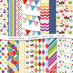 Rainbow Party  colorful digital scrapbooking paper by digitalfield