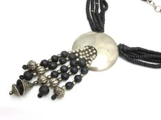 Black and Silver Beaded Necklace - Clay Beads Boho Chic Waterfall Tassel