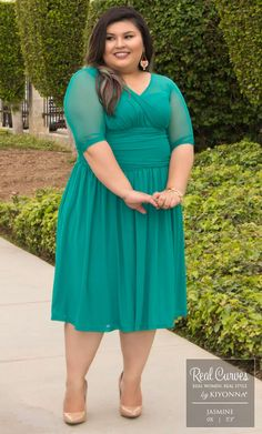 """Real Curve Cutie and Marketing Associate Jasmine (5'3"""" and a size 0x) looks classically sweet in our plus size Modern Mesh Dress!  www.kiyonna.com  #KiyonnaPlusYou  #MadeintheUSA  #Cocktail  #OOTD"""