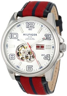Tommy Hilfiger Men's 1790926 Stainless Steel and Grosgrain Leather Strap Sport Watch: Watches: Amazon.com