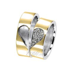 Matching Heart Diamond Wedding Band Set.  25karats.com