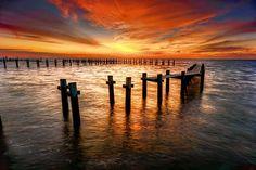 Description: Sunrise on Galveston Bay. Kemah, Texas