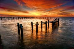 Description: Sunrise on Galveston Bay. Kemah, Texas