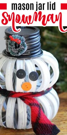 If you liked our Mason Jar Lid Pumpkins you'll love this adorablemason jar lid snowman!It's a cute and unique holiday craft that is sure to be a conversation piece. Canning Jar Lids, Mason Jar Lids, Mason Jar Candles, Scented Candles, Mason Jar Pumpkin, Mason Jar Snowman, Jar Lid Crafts, Mason Jar Crafts, Easy Christmas Crafts